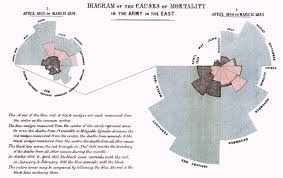Medicinos sesers Florence Nightingale duomenų apie karių mirtis analizė 1858 m.